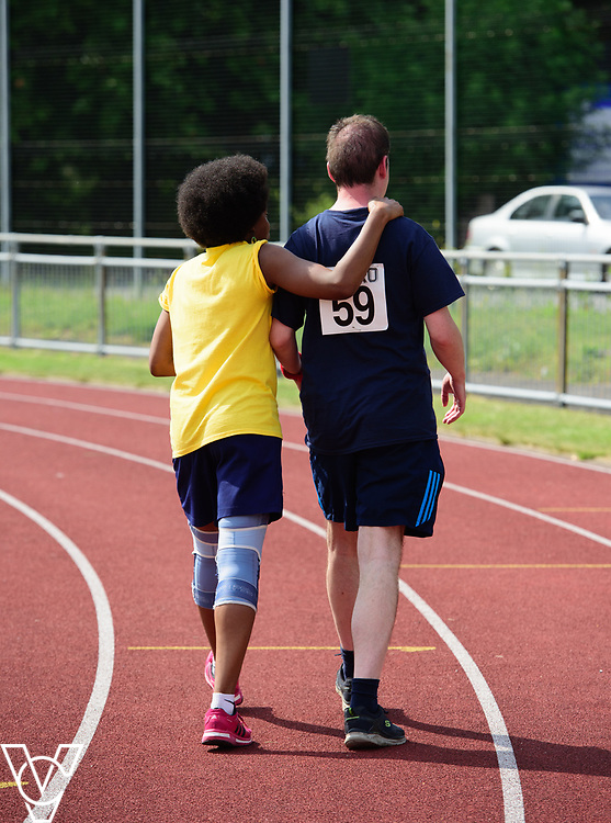 Metro Blind Sport's 2017 Athletics Open held at Mile End Stadium.  4x100m relay.  Vanja Sudar with guide runner<br /> <br /> Picture: Chris Vaughan Photography for Metro Blind Sport<br /> Date: June 17, 2017