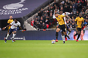 Joss Labadie of Newport County holds off Victor Wanyama of Tottenham Hotspur during the The FA Cup fourth round replay match between Tottenham Hotspur and Newport County at Wembley Stadium, London, England on 6 February 2018. Picture by Toyin Oshodi.