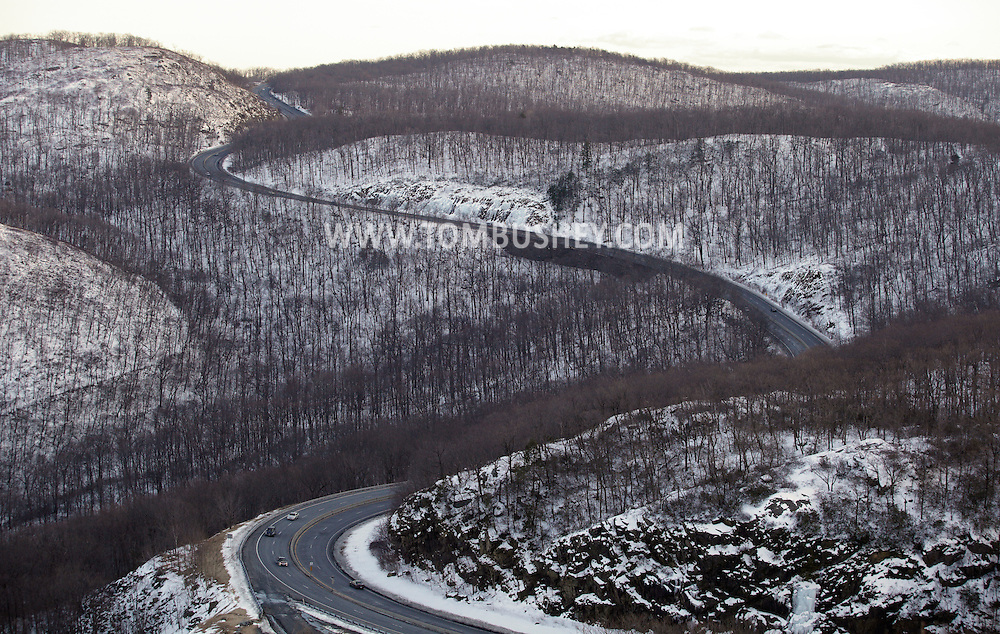 Cornwall, New York - Cars travel on Route 9W as it winds through the Hudson Highlands on the west side of the Hudson River on Feb. 20, 2010.