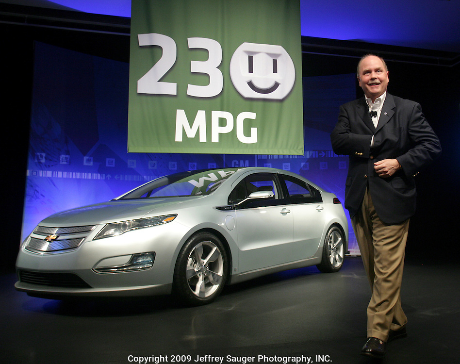 General Motors President and CEO Fritz Henderson announces the Chevrolet Volt extended-range electric vehicle is expected to achieve a city fuel economy of at least 230 miles per gallon based on development testing using a draft EPA federal fuel economy methodology for labeling of plug-in electric vehicles. The announcement was made at a press conference Tuesday, August 11, 2009 in Warren, Michigan.