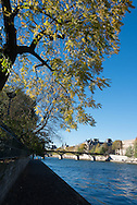 Paris. The Art bridge on the Seine river in the distance the Quay du Louvre view from the Vert galant.