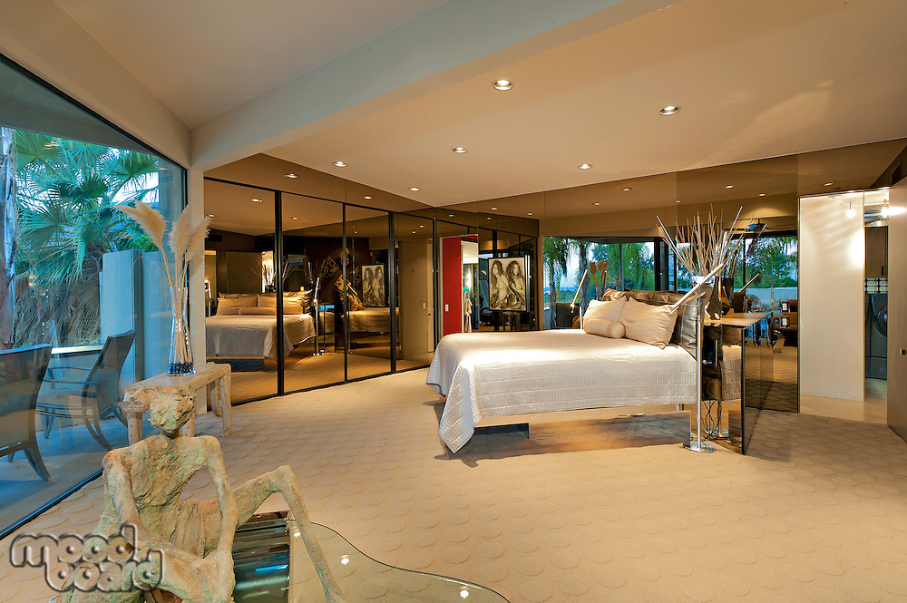 View of bedroom in luxury mansion
