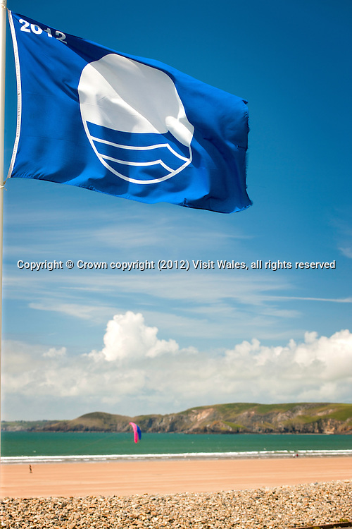 Newgale beach with Blue Flag flying<br /> St Bride's Bay<br /> Pembrokeshire<br /> South<br /> Coastal Scenery
