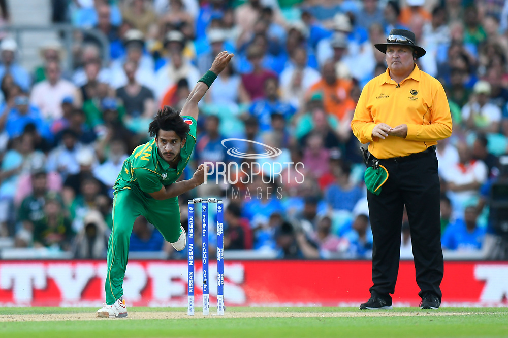 Hasan Ali of Pakistan bowling during the ICC Champions Trophy final match between Pakistan and India at the Oval, London, United Kingdom on 18 June 2017. Photo by Graham Hunt.