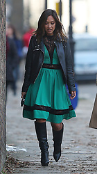 (EXCLUSIVE PICTURES) Myleene Klass wearing a black leather bikers jacket, green dress with black lace and a pair of knee high boots with 6-inch heels out and about in London, UK. 03/11/2017<br /> BYLINE MUST READ : GOTCHAIMAGES.COM<br /> <br /> Copyright by © Gotcha Images Ltd. All rights reserved.<br /> Usage of this image is conditional upon the acceptance <br /> of Gotcha Images Ltd, terms and conditions available at<br /> www.gotchaimages.com