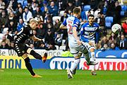 Ezgjan Alioski (10) of Leeds United shoots at goal during the EFL Sky Bet Championship match between Reading and Leeds United at the Madejski Stadium, Reading, England on 10 March 2018. Picture by Graham Hunt.