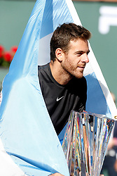 March 18, 2018 - Indian Wells, CA, U.S. - INDIAN WELLS, CA - MARCH 18: Juan Martin Del Potro ( ARG ) poses with the BNP Paribas Open trophy after winning the BNP Paribas Open on March 18, 2018, at the Indian Wells Tennis Gardens in Indian Wells, CA. (Photo by Adam  Davis/Icon Sportswire) (Credit Image: © Adam Davis/Icon SMI via ZUMA Press)