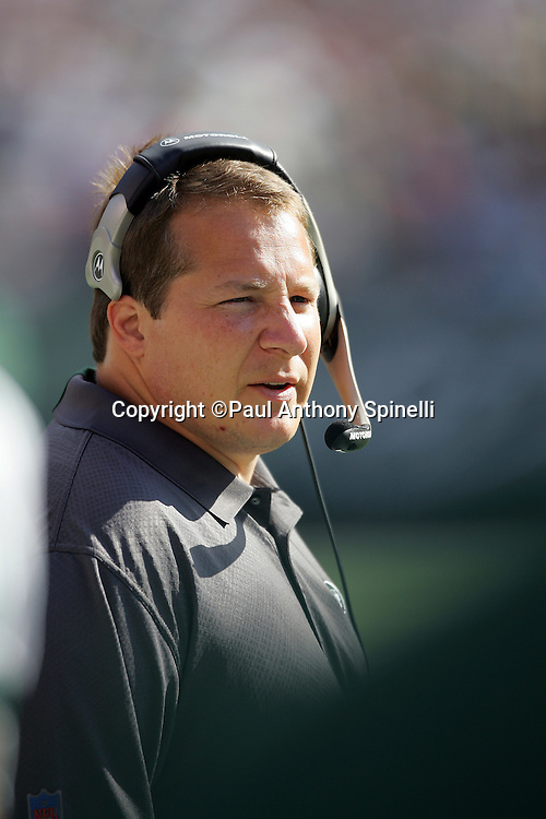 EAST RUTHERFORD, NJ - OCTOBER 1:  Head Coach Eric Mangini of the New York Jets works the sidelines against the Indianapolis Colts at the Meadowlands on October 1, 2006 in East Rutherford, New Jersey. The Colts defeated the Jets 31-28. ©Paul Anthony Spinelli *** Local Caption *** Eric Mangini
