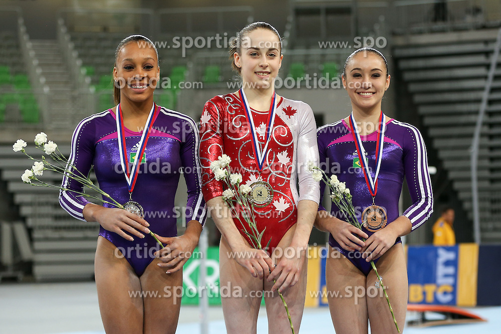 Isabela Maria Onyshko of Canada, second place for Lorrane Dos Santos Oliveira of Brasil and third place for Julie Kim Sinmon of Brasil in Balance Beam during Final of Artistic Gymnastics World Challenge Cup Ljubljana, on April 5, 2015 in Arena Stozice, Ljubljana, Slovenia. Photo by Morgan Kristan / Sportida