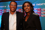 Gerald Majola and Kass Naidoo during the official launch press conference and party for the Airtel Champions League T20 tournament (being held in South Africa in September 2010) held at Taboo nightclub in Sandton, Johannesburg on the 10 August 2010..Photo by..CLT20 / SPORTZPICS