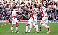 Joe Allen of Stoke City celebrates with teammates after scoring a goal to make it 2-0 - Mandatory by-line: Robbie Stephenson/JMP - 15/10/2016 - FOOTBALL - Bet365 Stadium - Stoke-on-Trent, England - Stoke City v Sunderland - Premier League