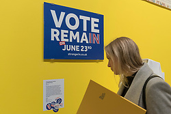 "© Licensed to London News Pictures. 27/03/2018. LONDON, UK. A visitor views material from the ""Britain Stronger in Europe"" campaign identity, 2015/16. Preview of ""Hope to Nope: Graphics and Politics 2008-18"", an exhibition examining the political graphic design of a turbulent decade encompassing the 2008 financial crash, Barack Obam presidency, Brexit and Donald Trump's presidency.  The exhibition takes place at the Design Museum 28 March to 12 August 2018.  Photo credit: Stephen Chung/LNP"