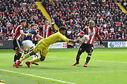 Sheffield United goalkeeper Jamal Blackman (27) takes ball during the EFL Sky Bet Championship match between Sheffield United and Millwall at Bramall Lane, Sheffield, England on 14 April 2018. Picture by Ian Lyall.