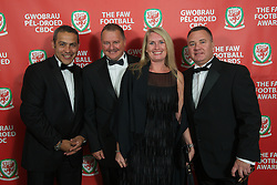 CARDIFF, WALES - Monday, October 8, 2012: Guests arrive for the FAW Player of the Year Awards Dinner at the National Museum Cardiff. xxxx, xxxx,  ATPI Travel's Shelley Matthews, Cliff Evans (Pic by David Rawcliffe/Propaganda)