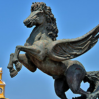Pegasus Statue and Clock Tower in Getseman&iacute;, Cartagena, Colombia<br />