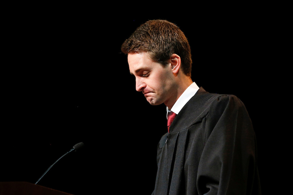 Snapchat co-founder and CEO Evan Spiegel looks down while speaking during his commencement address to the USC Marshall School of Business at the Galen Center on Friday, May 15, 2015 at the University of Southern California (USC) in Los Angeles, Calif. © 2015 Patrick T. Fallon