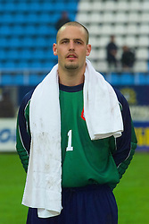 KIEV, UKRAINE - Tuesday, June 5, 2001: Wales' goalkeeper Jason Jones lines-up before the Under-21 World Cup Qualifying match against Ukraine at the Dynamo Stadium. (Pic by David Rawcliffe/Propaganda)