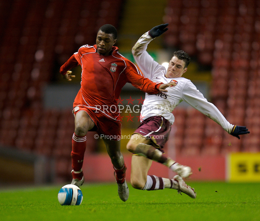 LIVERPOOL, ENGLAND - Tuesday, January 29, 2008: Liverpool's David Amoo is tackled by Arsenal's James Dunne, who was then sent off for a second yellow card, during the FA Youth Cup 4th Round match at Anfield. (Photo by David Rawcliffe/Propaganda)