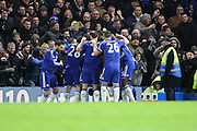 Chelsea attacker Kenedy celebrating scoring Chelsea second goal during the Barclays Premier League match between Chelsea and West Bromwich Albion at Stamford Bridge, London, England on 13 January 2016. Photo by Matthew Redman.