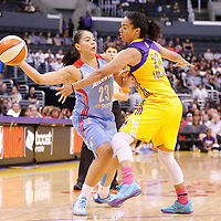 08 August 2014: Atlanta Dream guard Shoni Schimmel (23) passes the ball past Los Angeles Sparks guard Kristi Toliver (20) during the Los Angeles Sparks 80-77 overtime win over the Atlanta Dream, at the Staples Center, Los Angeles, California, USA.