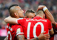 Arturo Vidal of Bayern Munich celebrates scoring during the Bundesliga match between Bayern Munich and Borussia Monchengladbach at the Allianz Arena, Munich, Germany on 22 October 2016. Photo by Bernd Feil/pixathlon.