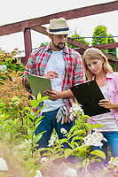 Portrait of mature gardeners examining plants while writing report on clipboard