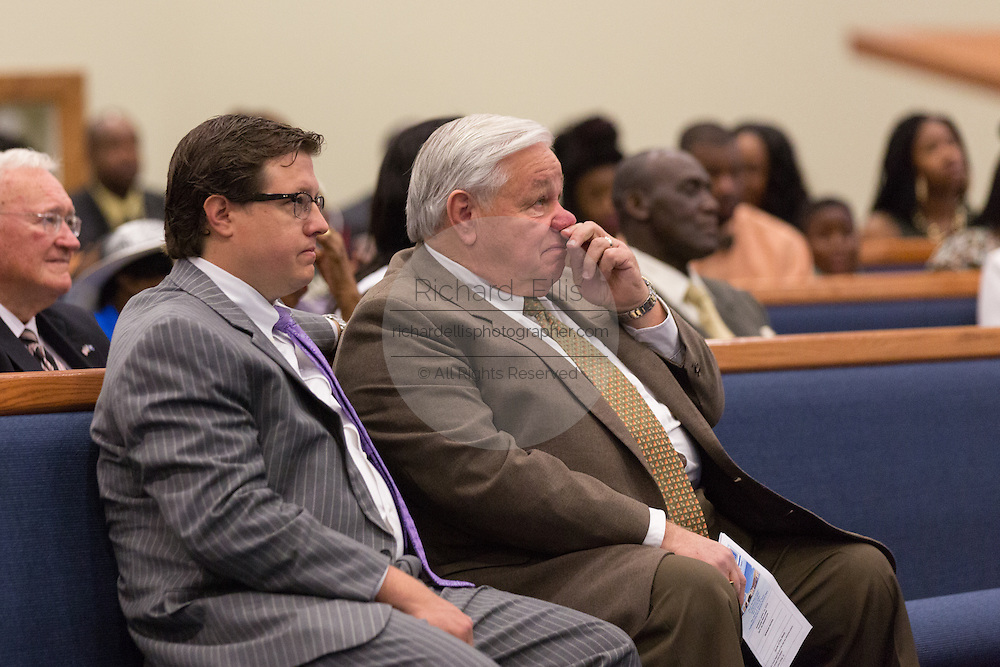 North Charleston Mayor Keith Summey joins a healing service at Charity Missionary Baptist Church April 12, 2015 in North Charleston, South Carolina. Sharpton spoke following the recent fatal shooting of unarmed motorist Walter Scott police and thanked the Mayor and Police Chief for doing the right thing in charging the officer with murder.