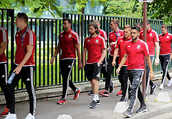 PARIS, FRANCE - Saturday, June 25, 2016: Wales' Hal Robson-Kanu, Joe Allen and Neil Taylor during a pre-match walk outside the Mövenpick Hotel Paris Neuilly ahead of the Round of 16 UEFA Euro 2016 Championship match against Northern Ireland. (Pic by David Rawcliffe/Propaganda)