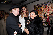 JAMES BROWN; SARAH MORRIS; JACQUI SOLIMAN, Private view of the exhibition ' Mother of Pouacrus' by Nicholas Pol. Presented by Vladimir Restoin Roitfeld. The Old Dairy, Wakefield St.  London. 14 October 2010. <br /> <br /> -DO NOT ARCHIVE-© Copyright Photograph by Dafydd Jones. 248 Clapham Rd. London SW9 0PZ. Tel 0207 820 0771. www.dafjones.com.
