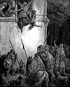 Jezebel, Phoenician princess and wife of King Ahab of Israel is thrown out of the window on the orders of Jehu, and her body is eaten by dogs. 2 Kings 9.33. From Gustave Dore illustrated 'Bible' 1866 Wood engraving