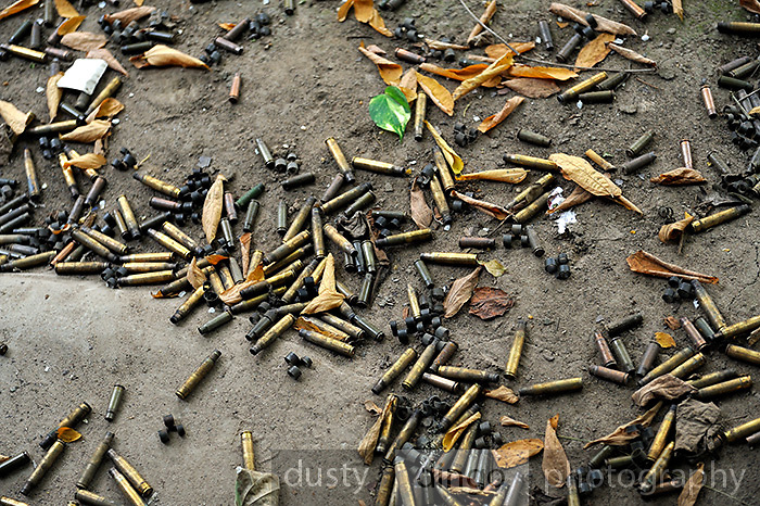 Assorted spent cartridges and M13 Links (clips which hold cartridges together in a disintegrating ammunition belt that is fed into a machine gun). Cu ChiTunnel Memorial, Cu Chi, Vietnam<br /> This image was a finalist in the 2013 Art of Photography exhibition.