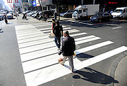 SHENYANG, CHINA - OCTOBER 14: (CHINA OUT)<br /> <br /> Funny Zebra Crossing's<br /> <br /> Citizens walk on zebra crossings decorated as piano keys at Xingshun Street on October 14, 2014 in Shenyang, Liaoning province of China. Zebra crossings are designed into various funny forms such as piano keys, musical satffs and little feet to draw citizens\' attention to walk on sidewalk when cross roads.<br /> ©Exclusivepix