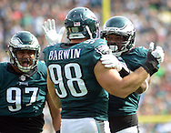 Philadelphia Eagles Connor Barwin #98 and Brandon Graham celebrate Barwins sack of Cleveland Browns Robert Griffin III in the fourth quarter Sunday, September 11, 2016 at Lincoln Financial Field in Philadelphia, Pennsylvania.  (Photo by William Thomas Cain)