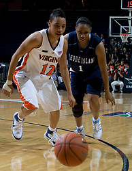 Rhode Island guard Crystal Bellinger (1) and Virginia guard Britnee Millner (12) scramble for a loose ball. The Virginia Cavaliers women's basketball team defeated the Rhode Island Rams 89-53 at the John Paul Jones Arena in Charlottesville, VA on January 9, 2008.