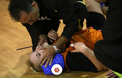 Mateja Suban of Brezice injured at  handball game between women team RK Olimpija vs ZRK Brezice at 1st round of National Championship, on September 13, 2008, in Arena Tivoli, Ljubljana, Slovenija. Olimpija won 41:17. (Photo by Vid Ponikvar / Sportal Images)