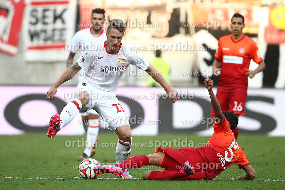 24.09.2014, Fritz Walter Stadion, Kaiserslautern, GER, 2. FBL, 1. FC Kaiserslautern vs 1. FC Union Berlin, 7. Runde, im Bild Kerem Demirbay (1.FC Kaiserslautern) im Zweikampf mit Sebastian Polter (1.FC Union Berlin), Aktion / Action // during the 2nd German Bundesliga 7th round match between 1. FC Kaiserslautern and 1. FC Union Berlin at the Fritz Walter Stadion in Kaiserslautern, Germany on 2014/09/24. EXPA Pictures &copy; 2014, PhotoCredit: EXPA/ Eibner-Pressefoto/ Neis<br /> <br /> *****ATTENTION - OUT of GER*****