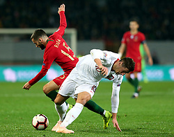 LISBON, Nov. 21, 2018  Rafa Silva (L) of Portugal vies with Grzegorz Krychowiak of Poland during the UEFA Nations League soccer match League A Group 3 between Portugal and Poland in Guimaraes, Portugal on Nov. 20, 2018. The match ended with a 1-1 tie. (Credit Image: © Catarina Morais/Xinhua via ZUMA Wire)