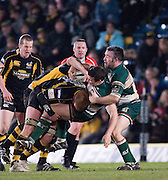 Wycombe, GREAT BRITAIN,   Tigers' Aaron MAUGER, driven backwards by Wasps' Hugo ELLIS,  into, Mefin DAVIES, during the Guinness Premiership rugby game, London Wasps vs Leicester Tigers at Adam's Park Stadium, Bucks, England, on Sun 15.02.2009. [Photo, Peter Spurrier/Intersport-images]