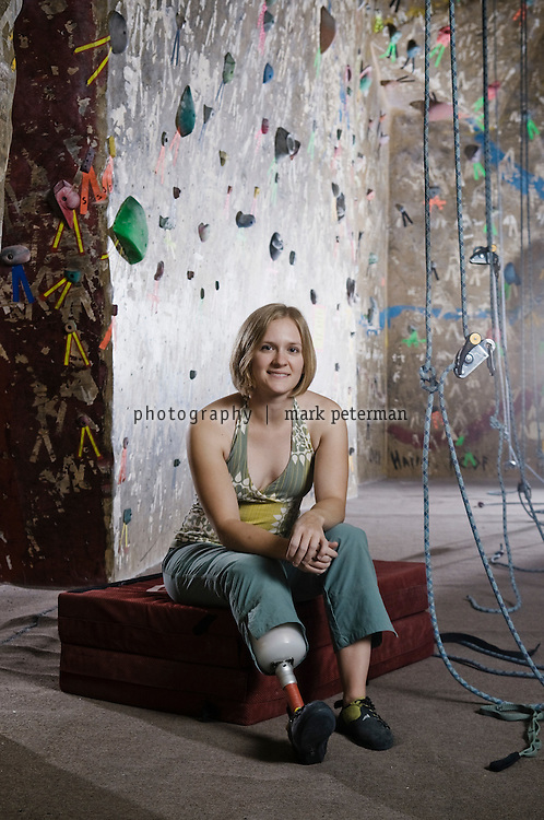 Christa Brelsford at Phoenix Rock Gym in Tempe, Arizona.