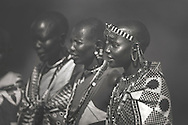 Maasai women in traditional garb, Masai Mara, Kenya.
