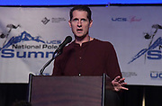 Jan 18, 2019; Sparks, NV, USA; Jeff Hartwig speaks at the UCS Spirit National Pole Vault Summit general assembly at the Nugget Casino Resort.