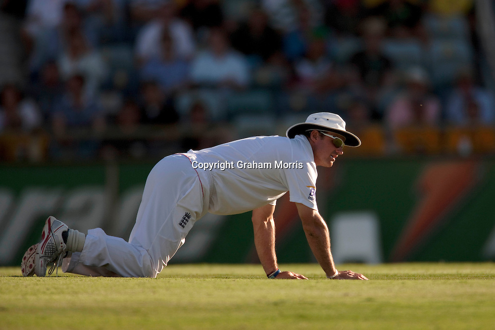 Andrew Strauss down as the runs flow during the third Ashes test match between Australia and England at the WACA (West Australian Cricket Association) ground in Perth, Australia. Photo: Graham Morris (Tel: +44(0)20 8969 4192 Email: sales@cricketpix.com) 17/12/10