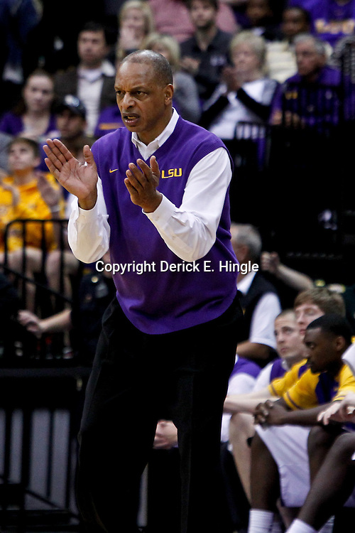 January 28, 2012; Baton Rouge, LA; LSU Tigers head coach Trent Johnson against the Kentucky Wildcats during a game at the Pete Maravich Assembly Center. Kentucky defeated LSU 74-50.  Mandatory Credit: Derick E. Hingle-US PRESSWIRE