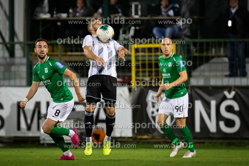 Nino Kouter of Mura jumping for the ball during football match between NS Mura and NK Olimpija in 15th Round of Prva liga Telekom Slovenije 2019/20, on November 3, 2019 in Fazanarija Stadium, Murska Sobota, Slovenia. Photo by Blaz Weindorfer / Sportida
