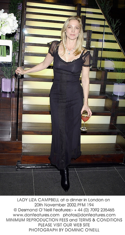 LADY LIZA CAMPBELL at a dinner in London on 20th November 2002.PFM 194