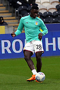 Aston Villa defender Axel Tuanzebe (28) warming up prior to  the EFL Sky Bet Championship match between Hull City and Aston Villa at the KCOM Stadium, Kingston upon Hull, England on 31 March 2018. Picture by Mick Atkins.