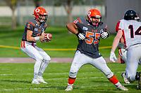 KELOWNA, BC - OCTOBER 6: Alex Douglas #1 of Okanagan Sun receives the ball against the VI Raiders at the Apple Bowl on October 6, 2019 in Kelowna, Canada. (Photo by Marissa Baecker/Shoot the Breeze)