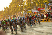 The field of cyclists ride ten laps on the Champs Elysses route completing the 100th Tour de France. Specialized Bicycle Components hosted a VIP experience for select media joining the last four stages of the 2013 Tour de France. Image by Greg Beadle