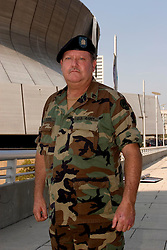 31st August, 2005. New Orleans Louisiana. <br /> Hurricane Katrina aftermath. The tourist saviour. Staff Sergeant Garland Ogden who saved tourists from The Superdome dubbed 'Hell on earth.'  Over 20,000 refugees from hurricane Katrina are crammed into hellish conditions.<br /> Photo Credit: Charlie Varley/varleypix.com