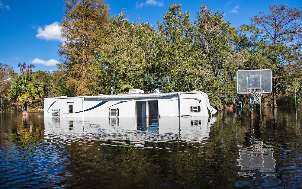 Trailer home flooded by the Waccamaw River which crested at a record breaking high following Hurricane Matthew.